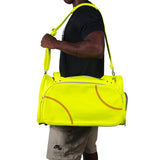 A man wearing a yellow Softball Sport Duffel Bag w/ padded shoulder strap made of actual softball leather w/ red softball stitching.