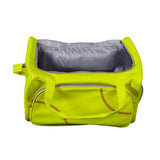 An open yellow Softball Sport Duffel Bag w/ padded shoulder strap made of actual softball leather w/ red softball stitching.