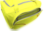 Open side compartment of a yellow Softball Sport Duffel Bag w/ padded shoulder strap made of actual softball leather w/ red softball stitching.