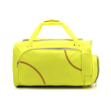 A yellow Softball Sport Duffel Bag w/ padded shoulder strap made of actual softball leather w/ red softball stitching.