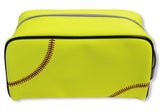 A yellow softball sport dopp kit/ Toiletry bag w/ black trim made of real Softball leather.