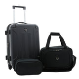 A black, expandable 3-pc Chicago Plus Carry-On Set w/ 360º Spinner wheels, telescopic handle, Corner guards & 4 side studs.