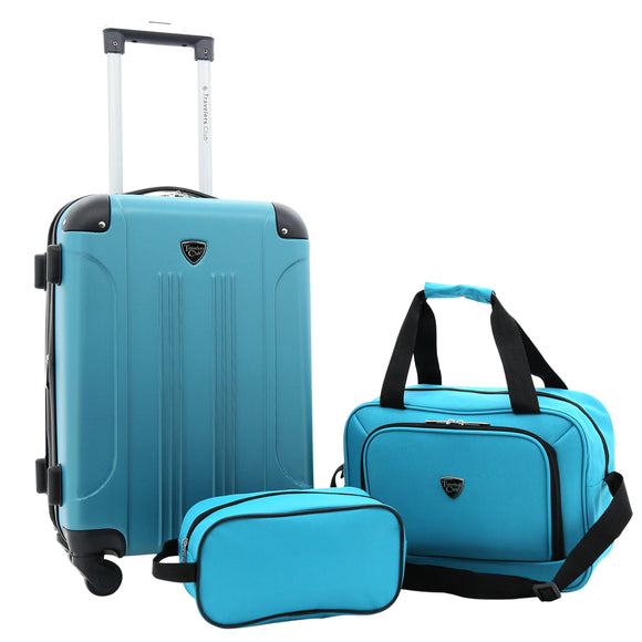 A teal, expandable 3-pc Chicago Plus Carry-On Set w/ 360º Spinner wheels, telescopic handle, Corner guards & 4 side studs.