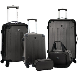 A black, expandable 5-pc Chicago Plus Carry-On Set w/ 360º Spinner wheels, telescopic handle, Corner guards & 4 side studs.