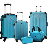 A teal, expandable 5-pc Chicago Plus Carry-On Set w/ 360º Spinner wheels, telescopic handle, Corner guards & 4 side studs.