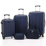 A navy, expandable 5-pc Chicago Plus Carry-On Set w/ 360º Spinner wheels, telescopic handle, Corner guards & 4 side studs.