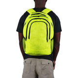 A man wearing a yellow tennis sport backpack w/ black trim made w/ real tennis ball material.
