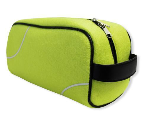 A yellow tennis dopp kit/ Toiletry bag w/ black trim made of real baseball material.