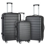 A black 3-Pc Wrangler 3-in-1 Hardside rolling Luggage Set.