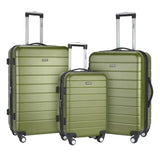 A olive green 3-Pc Wrangler 3-in-1 Hardside rolling Luggage Set.