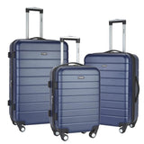 A blue 3-Pc Wrangler 3-in-1 Hardside rolling Luggage Set.