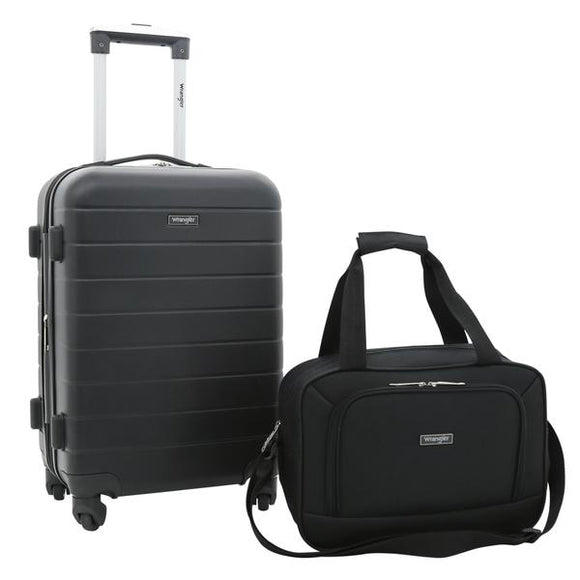 Wrangler El Dorado 2-Pc Expandable Rolling Carry-On Set with 3-IN-1 Cup Holder (Available in 2 Colors)