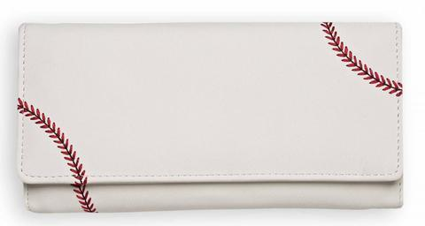 This is a women's white baseball wallet w/ red Baseball stitching made of real Baseball material.