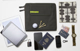 This is a Walter and Ray elephant grey calf skin leather airplane seat back organizer shown w/ tablet, laptop, cell phone, smart phone, watch, passport, notebook, money & TSA lock