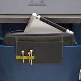 This is a Walter and Ray elephant grey calf skin leather airplane seat back organizer shown inside airplane seat back pocket w/ laptop inside protective pocket