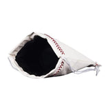 An open white baseball drawstring bag made of real Baseball material w/ red Baseball stitching & white drawstrings.
