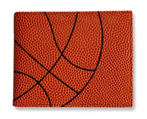 A square men's basketball wallet made w/ real Basketball material.