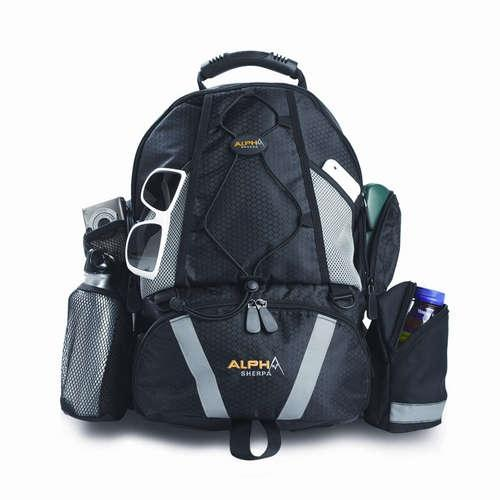 A black Alpha Sherpa backpack w/ Padded laptop, Cooler w/ soft-sided storage, a Parent pack that includes changing pad, insulated bottle holder, padded interior pocket for iPad/notebook