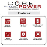 A chart describing features of the CORE Power AC USB 27,000mAh Portable Laptop Charger