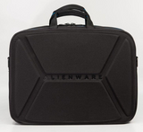 "Back view of black 1680D Ballistic Nylon 13"" Alienware Vindicator 2.0 Laptop Briefcase w/ removable non-slip padded shoulder strap & top load nylon carrying handles"