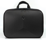 "A black 1680D Ballistic Nylon 13"" Alienware Vindicator 2.0 Laptop Briefcase w/ removable non-slip padded shoulder strap & top load nylon carrying handles"