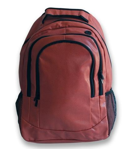 A brown football backpack w/ black trim made of real football leather.
