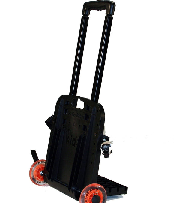 A black Original Travelmate w/ razor wheels, fold down plate & telescopic handle.