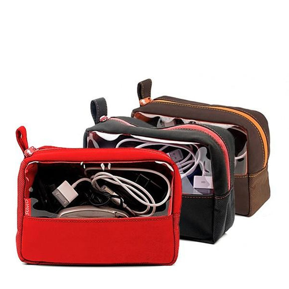 Red, black & brown electronics accessory bag & toiletry bags w/ clear viewing window
