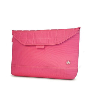 "A pink w/ white stitching 15"" quilted laptop sleeve."