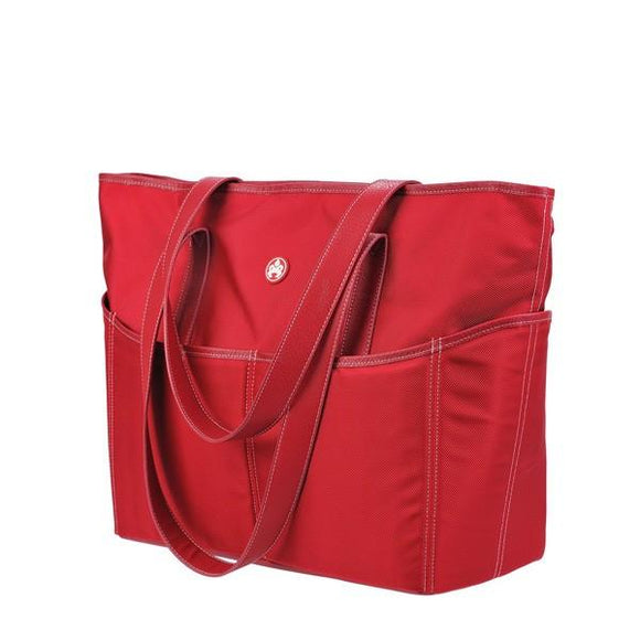 A large red ballistic nylon Sumo Large Tote / diaper bag w/ white stitching, faux-leather detail, Interior & Exterior pockets all around, Magnetic Closures & Printed liner