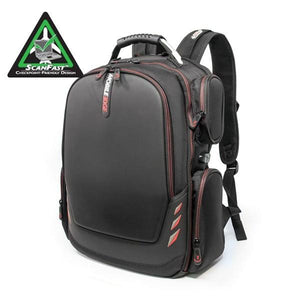 "A black 17"" Core Gaming Checkpoint Friendly laptop Backpack w/ Molded Panel, red trim, 4 side accessory pockets, external USB Charge Port built in."