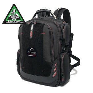 "A ballistic nylon black 16"" Gaming Checkpoint Friendly Backpack w/ red trim & velcro front panel, padded air-mesh shoulder straps & back panel, padded carry handle & trolley strap for stacking on other luggage."