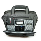 "A 16"" Graphite Corporate Briefcase w/ three exterior padded pockets, padded handles & shoulder strap showing tech gear inside pockets"