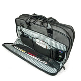 "An opened 16"" Graphite Nylon Briefcase w/ padded computer pocket, file section & workstation w/ pockets"