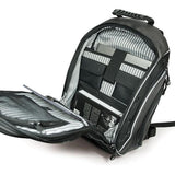 "An open 16"" Graphite Express Backpack w/ Media/Phone Pocket for MP3 Player or Smartphone w/ Headphone Pass-through, Ergonomic Ventilated Back Panel, Integrated iPad/Tablet."