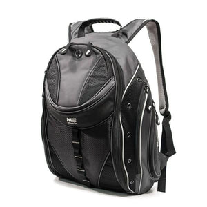 "A 16"" Graphite Express Backpack w/ Media/Phone Pocket for MP3 Player or Smartphone w/ Headphone Pass-through, Ergonomic Ventilated Back Panel, Integrated iPad/Tablet."