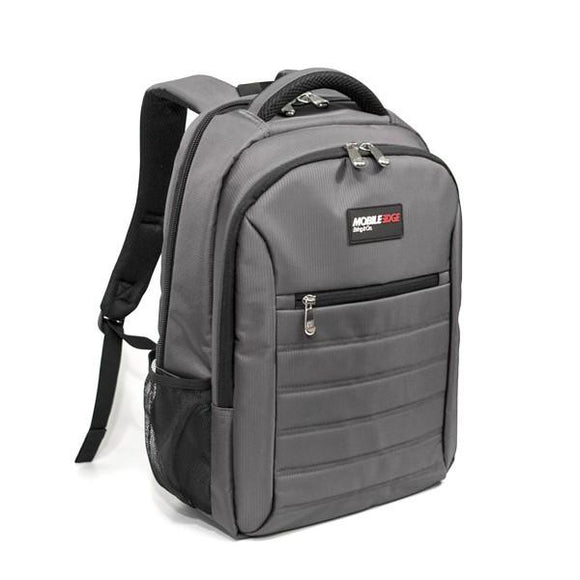 A graphite laptop backpack w/ padded, ventilated back panel & shoulder straps.