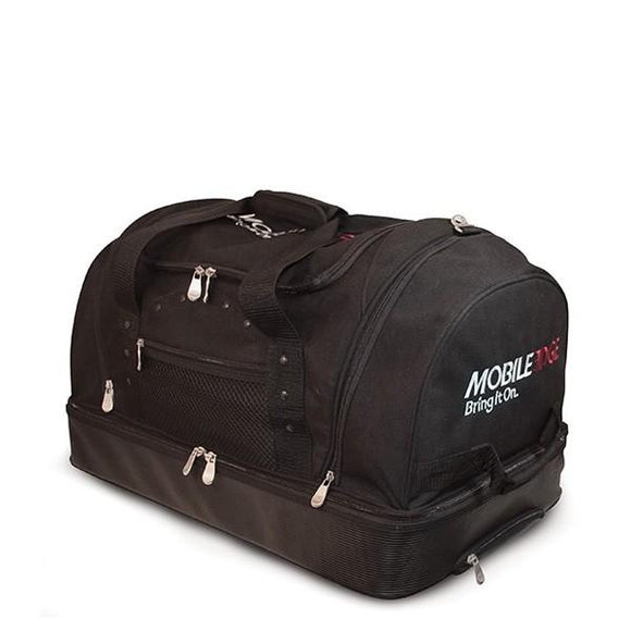 A black heavy canvas rolling duffel w/ hideaway extending handle