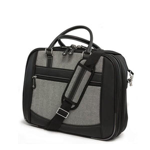 "A 16"" ScanFast Herringbone Element Briefcase w/ black trim, Trolley strap for use with rolling luggage, Padded Computer Section, Padded Tablet Section, Separate Zippered Workstation, File Sections & Padded Shoulder Strap"