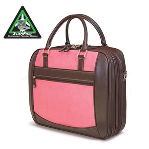 "A Pink Suede 16"" ScanFast Element Checkpoint Friendly Briefcase w/ Trolley strap for use with rolling luggage, Padded Computer Section, Separate Zippered Workstation, File Sections, Padded Shoulder Strap, Steel Fittings & Faux Leather Wrapped Handles, Exterior Pockets & Matching Detachable Cosmetic Purse"