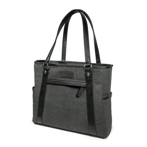 "Two charcoal 15.6"" Urban Laptop Tote w/ black & brown leather trim, handles, & padded computer compartment."