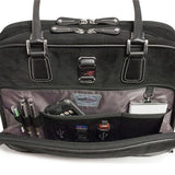 "An open black 14""-16"" Classic Corduroy Laptop Tote w/ Poly-fur lined pocket for iPad or Tablet, Zip-down workstation, Separate accordion file section, Full-length exterior pocket & trolley strap"