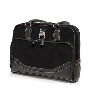 "A black 14""-16"" Classic Corduroy Laptop Tote w/ Poly-fur lined pocket for iPad or Tablet, Zip-down workstation, Separate accordion file section, Full-length exterior pocket & trolley strap"
