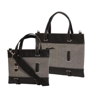 "11""-14"" Herringbone tote separate, padded compartments for both Tablet/Chromebook/Ultrabook w/ black trim, removable & adjustable detachable shoulder strap"