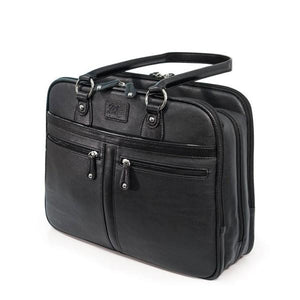 "A black vegan leather 16"" Verona Laptop laptop tote or briefcase w/ Padded poly-fur lined pockets for both laptop & tablet, Multiple pockets, Tartan cotton-twill lining, accessory organizer, 3 separate top zipper storage sections & Matching accessory clutch."