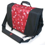 "A black & red 16""-17"" Sumo Messenger Bag w/ pockets, adjustable computer compartment for up to 16"" PC or 17"" MacBook Pro. Corduroy-lined adjustable computer compartment fits up to 17"" laptops Interior pockets, Front & rear exterior hidden zipper pockets, 2 under flap pockets."