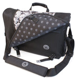 "A black and silver 16""-17"" Sumo Messenger Bag w/ pockets, adjustable computer compartment for up to 16"" PC or 17"" MacBook Pro. Corduroy-lined adjustable computer compartment fits up to 17"" laptops Interior pockets, Front & rear exterior hidden zipper pockets, 2 under flap pockets."