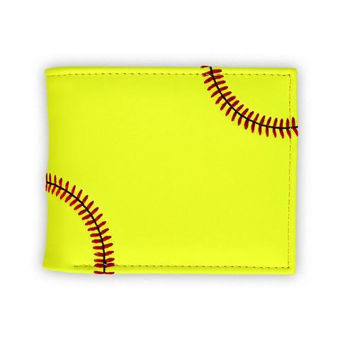 A yellow men's softball sport wallet w/ red softball stitching made w/ real Softball material.