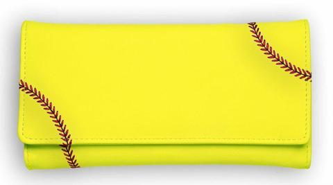 A women's trifold snap yellow softball sport wallet made of real Softball leather.