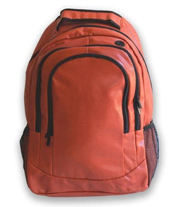 This is a basketball backpack w/ black trim made of real basketball leather.